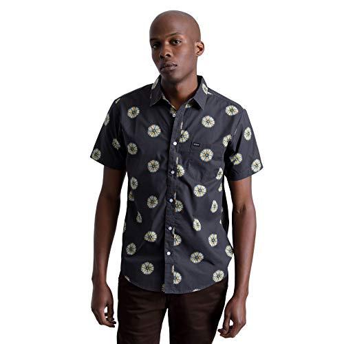 BRIXTON Herren Charter Print S/S WVN Button Down Hemd, schwarz/Silber, Mittel