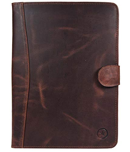 Leather Travel Portfolio | Professional Organizer Men & Women | Tablet Holder Leather Padfolio with Sleeves for documents and Ipad by Aaron Leather Goods (Brown)