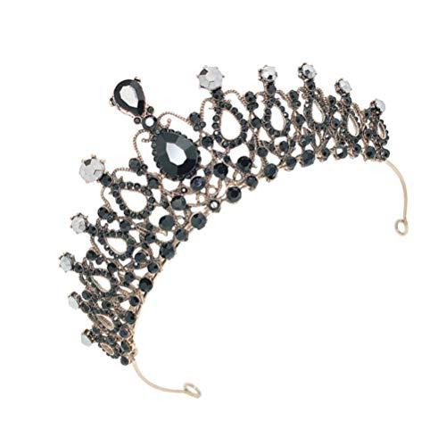 PIXNOR Tiara Barroca Coronas para Mujer Cristal Diamante de Imitación Boda Reina Coronas Casco Antiguo Traje Festival Cumpleaños Tiara Accesorios para El Cabello Nupcial