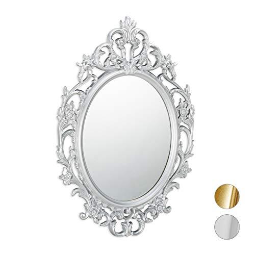 Relaxdays Espejo de Pared Barroco, Decoración de baño o Pasillo, Colgante, Redondo, Plateado, PP, Vidrio, cartón, Plata, 84 x 57 x 3 cm
