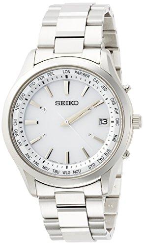 [セイコーウォッチ] 腕時計 セイコー セレクション ソーラー電波 ワールドタイム表記 白文字盤 サファイアガラス SBTM269 メンズ シルバー
