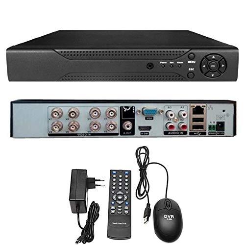 Senza marca-Generico DVR NVR 8 canali 26x20x4.3 Cm AHD HDMI HD H.264 Mouse Telecomando VGA sorveglianza 16 Channel CPU 32 Bit 1080P E-CH 7008