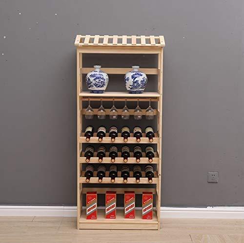 Wijnrek Massief hout plank drank bier ornamenten op display sub-frame bril frame toont een multi-layer thee huishouden ondersteboven, kleur: drie hout kleur