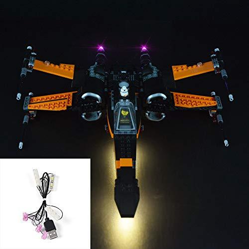 SKLLA USB-Beleuchtung, LED-Beleuchtung für Poe X-Wing Fighter Blöcke, kompatibel mit Lego 75102 (Nur Beleuchtung, Nicht einschließlich Dieses Modell)
