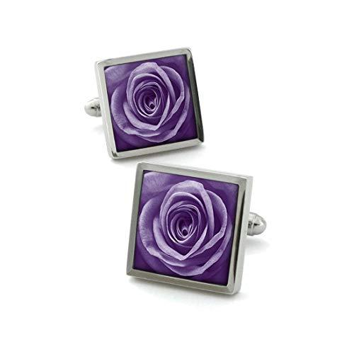 Robert Charles. Boutons de Manchette. Fleur de Rose, Acier rhodié. Violet, Motifs.