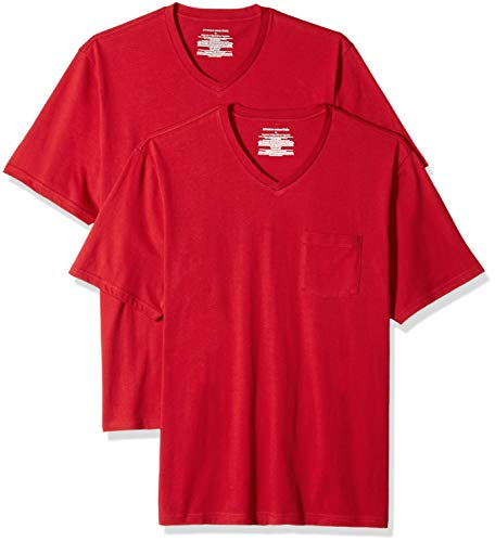 Amazon Essentials Herren T-Shirt, lockere Passform, V-Ausschnitt, Brusttasche, 2er-Pack, Rot (Red Red), US XS (EU XS)