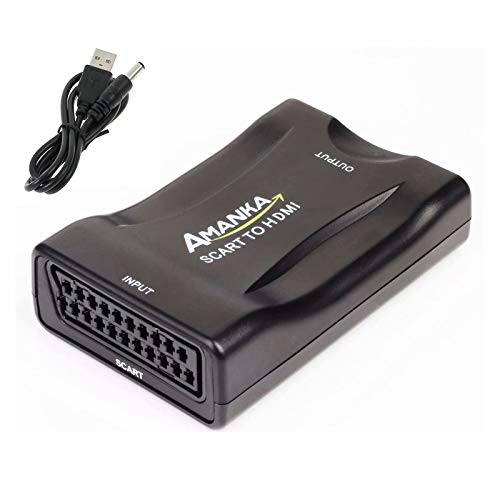 AMANKA Convertitore da SCART a HDMI Adattatore Audio Stereo HD Video Composito per SKY HD Blu Ray DVD TV PS3 con USB Cavo, Nero