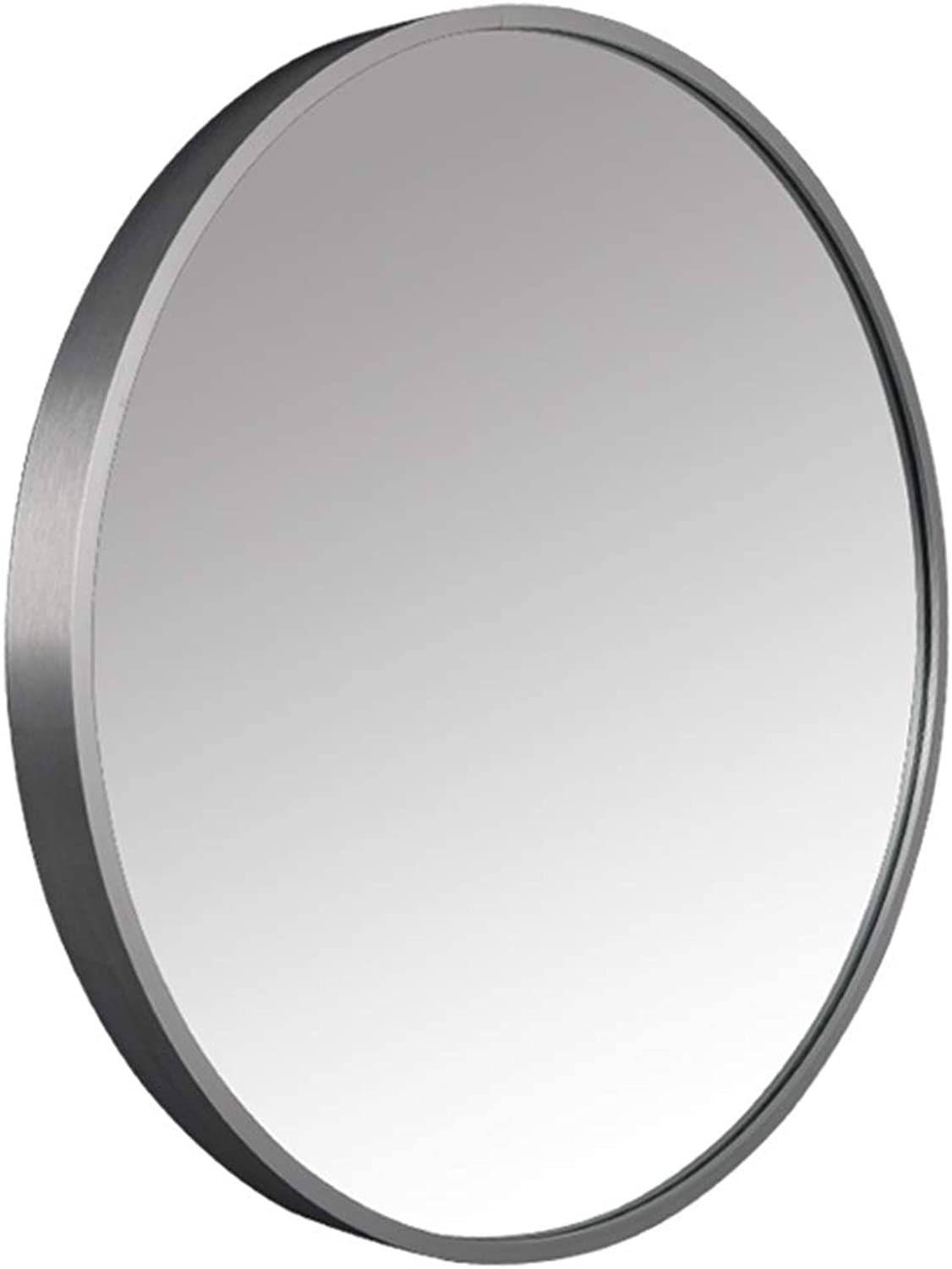 Round Wall Mirror,Bathroom Mirror,Metal Frame Durable and Sturdy,Clear Imaging,Hook Design,Suitable for Vanity,Bathroom,Bedroom,Gym,Hallway(50x50x4cm),Silver