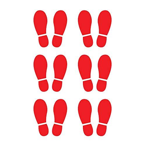 Paquete de 12 pegatinas adhesivas de vinilo de huellas de zapatos rojas de 6 cm para piso izquierdo y derecho de distancia social, para pared, escuela, oficina, cafetería, escaleras