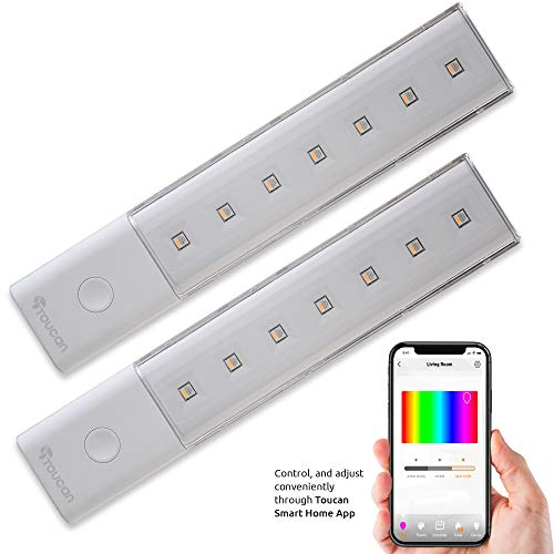 TOUCAN Smart Light Bar with Battery Operated or USB Operated, LED, Multi-Colors RGB, Wireless Night Lighting, Stick on Cabinet, Closet, Under Desk, Door (2 Pack)