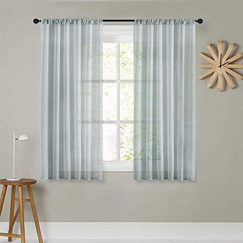 MRTREES Sheer Curtains Grey Voile Curtain Panels 63 inch Length Bedroom Living Room Transparent Curtain Sheers Rod Pocket Window Treatments Gray Drape Light Filtering 2 Panels