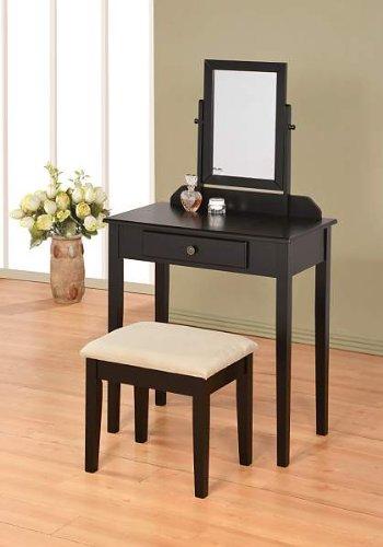 efurniturecenters Contemporary Vanity Set with Adjustable Mirror and Stool Black -