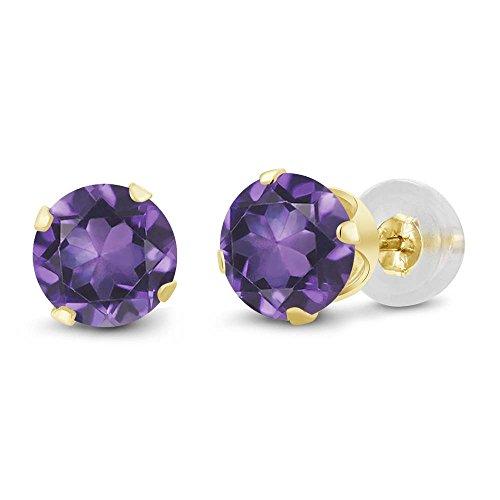 Gem Stone King 10K Yellow Gold Amethyst Stud Earrings For Women (1.50 Cttw, Gemstone Birthstone, Round 6MM)