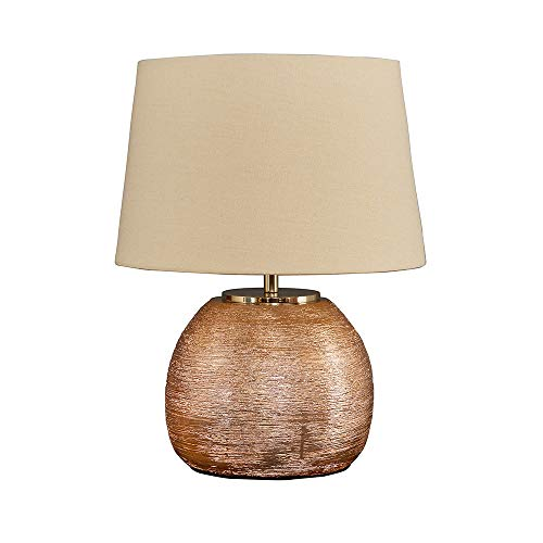Modern Metallic Copper Effect Ceramic Table Lamp with a Cream Tapered Shade - Complete with a 4w LED Candle Bulb [3000K Warm White]