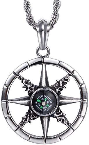 ZGYQGOO Herren Punk Persönlichkeit Kompass Anhänger Halskette