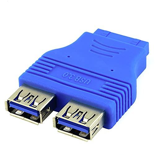 MY99 USHOMI IDE 20 Pines Hembra a USB 3.0 Adaptador de concentrador Hembra 2 Puertos encabezado Conector de Placa Base de Escritorio Divisor de extensión Azul