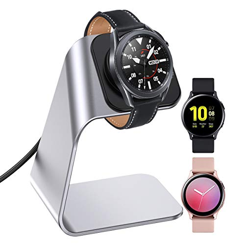 KIMILAR Cargador Compatible con Samsung Galaxy Watch 3/Galaxy Active 2 40mm 44mm/Galaxy Active 40mm Base de Carga, Aluminio Reemplazo USB Cargador Cable para Galaxy Watch 3 41mm 45mm (Plata)