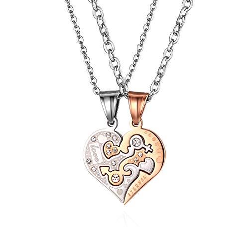 JewelryWe 2 Freundschaftsketten, Edelstahl Love Eternal Geschlecht Symbol Herz Partner Anhänger mit 45cm 55cm Ketten, Paare Halsketten für Herren Damen, Rosegold Silber