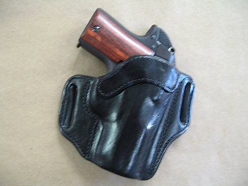 Kimber Micro 9mm OWB Leather 2 Slot Molded Pancake Belt Holster CCW BLACK RH