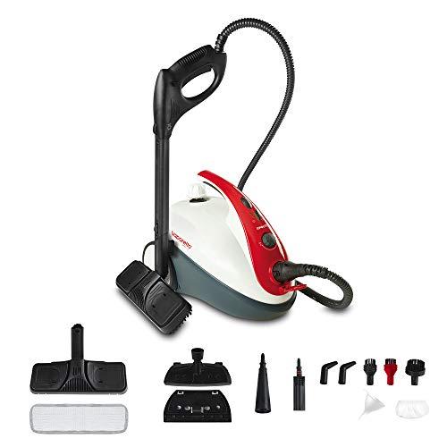 Polti Vaporetto Smart 30_R Limpiador a vapor, 3 Bar, compartimento para accesorios integrado, 1800 W, 1.6 litros, 18/10 Steel, Rojo y Blanco
