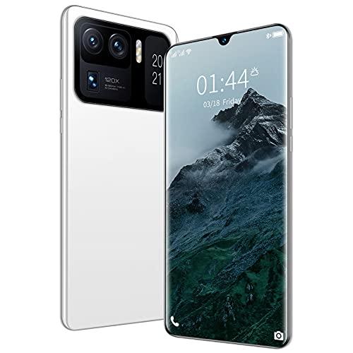 LINGZE Smartphones desbloqueados, teléfono con Pantalla Ultra HD de 7.0', Doble SIM, batería de 7200 mAh, cámaras triples, identificación Facial (Blanco)
