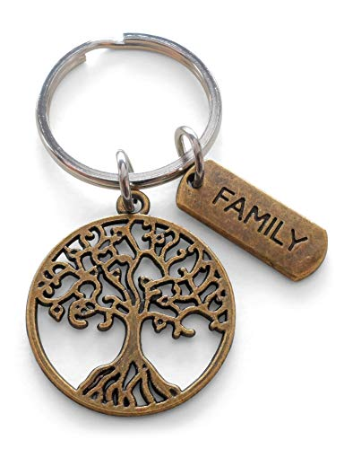 Bronze Family Tree Keychain, Family Reunion Gift - Our Roots Are As One