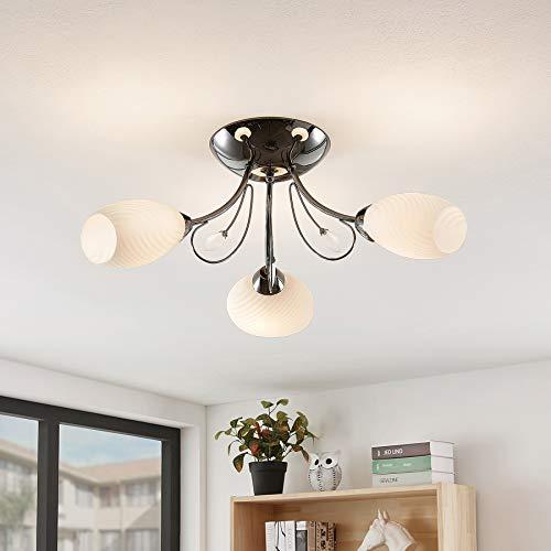 Preisvergleich Produktbild Lindby Deckenlampe 'Sibyll' in Schwarz aus Glas u.a. für Wohnzimmer & Esszimmer (3 flammig,  E14,  A++) - Deckenleuchte,  Lampe,  Wohnzimmerlampe