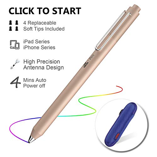 iPad Pencil,Stylus Stift für iPad, Kapazitiver Wiederaufladbare Stift für All iPad/iPhone/iPad Pro/iPhone X mit 4 Ersetzbar Feine Gummi Spitze, Digitaler Stift Speziell für iPad-Serie (Gold)