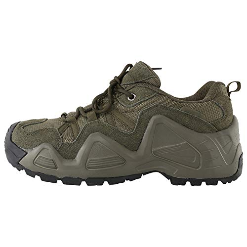 QETUOA Zapatos De Senderismo Impermeables Al Aire Libre para Hombres, Zapatos Deportivos Antideslizantes Resistentes Desgaste Transpirables Zapatos Tácticos Ciclismo (Verde,41)