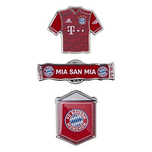 Bayern München Pin 3er Set Trikot-Schal-Wimpel Anstecker kompatibel FCB - Plus Lesezeichen I Love München