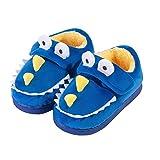 Cherrstile Boys Girls Cute Dinosaur Slippers Warm Fur Lined House Slippers for Kids Winter Indoor Home Slip On Shoes Blue