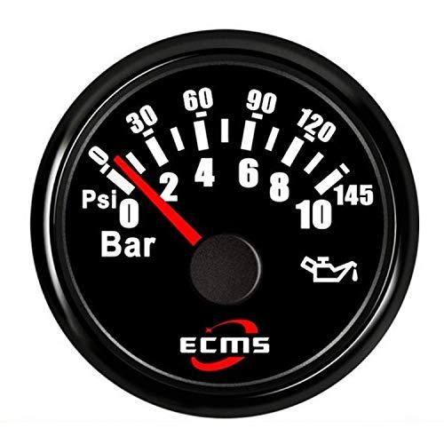 Panel de instrumentos CAIJINJIN 52mm 2 '' Aceite for motores marinos Indicador de presión del metro del indicador 0-10bar 0-145Psi 12V 24V for el coche con el contraluz del barco del carro Automotor