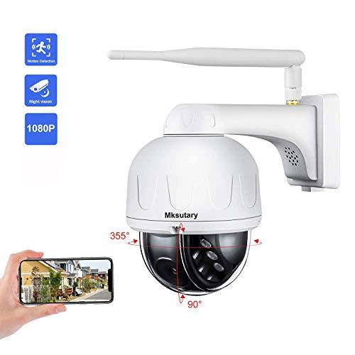 Cámara IP Exterior, Camara IP WiFi 1080p, Cámara PTZ Vigilancia Exterior WiFi Motorizada P/T Visión Nocturna 20M Detección de Movimiento Monitorización Remota vía PC/Smartphone/Tableta