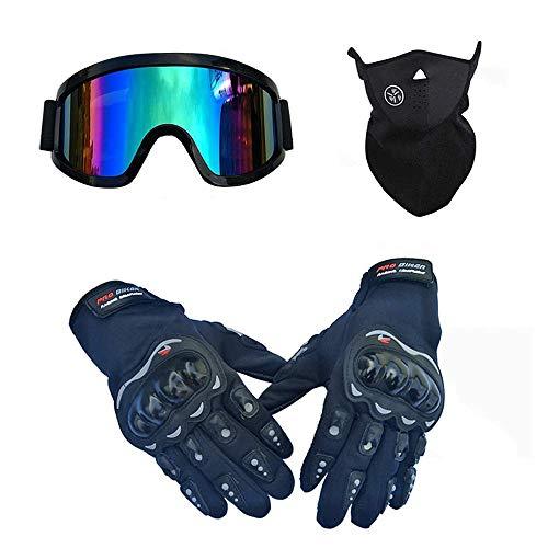WAHA Casco de Motocross, Casco de Motocicleta Modular, certificación de Carcasa de ABS, Adecuado para Carreras de Descenso, de Resistencia, con máscara Gafas Guantes,Negro,S