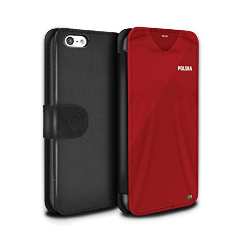 Handy Hülle Tasche kompatibel mit Apple iPhone 5C Weltmeisterschaft 2018 Fußball Trikot Polen/Polieren Flip PU Leder Case Cover