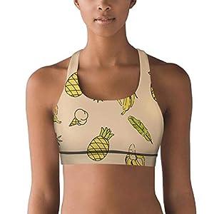 Banana Ice Cream Milk Yellow No Wire Sport Bras for Women, Yoga Sports Bras for Women