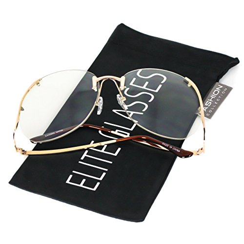 Elite RIMLESS OVERSIZED VINTAGE RETRO Butterfly Upside Down Oceanic Lens Sun Glasses (Clear, 65)