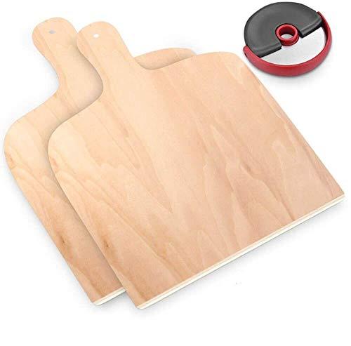 KYONANO - Pala per pizza, 2 pala per pizza in legno + 1 tagliapizza in acciaio inox, tagliere per pizza in legno di betulla, 30 x 42 cm