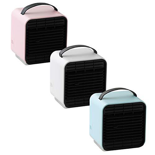 Qurra(AnemoCoolermini)卓上冷風扇usb冷風扇風機ミニ冷風扇氷水保冷剤風量3段階照明付き扇風機ポータブルクーラー冷風機ホワイト