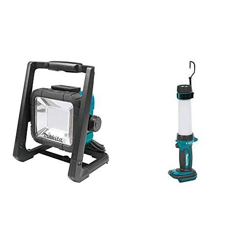 Makita DML805 14.4/18 V Corded and Cordless LED Work Light - Blue/Black & DML806 LED Torch, 54 W, 18 V, Multi-Colour