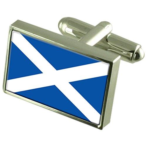 Select Gifts Scotland Saltire St Andrew Boutons de manchette drapeau avec boîte de souvenir gravé