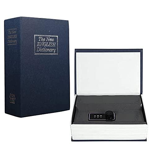Caja de Seguridad con combinación diccionario, Caja Fuerte Libro, dinero seguro, joyería, taquilla oculta, 11,5 x 5,5 x 18 cm(Azul oscuro)