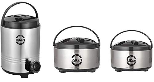 RJKART Stainless Steel Hot Pot Casserole with Handle Insulated Roti Box Set Container and Leakproof Water Storage Container Jug Dispenser Urn with Tap - Combo of 3 Ltr Water Contaniner, 700 mL & 1 Ltr Hotpot Serveware