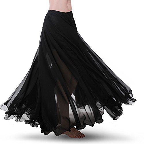 ROYAL SMEELA Bauchtanz Rock ATS Voile Flamenco Rock Damen Tanzrock Chiffon Maxirock Tanzkleid Kleidung Damen 25 Yard 720 Grad Großer Swing Röcke - 7 Farbe
