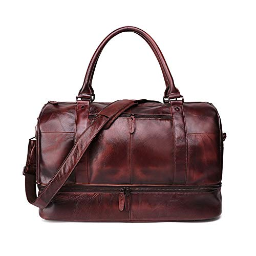 Weekend Overnight bag Men's Minimalist Fashion Unisex Leather Luggage Bags Overnight Crossbody Bag Weekend Bag Tote Bag Oversized Travel Shoulder Handbag Fits 15.6 Inch Short Trips on the Weekend work