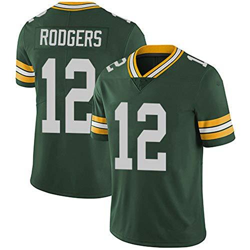 TOMORROWSTRA Rugby-Trikot Green Bay Packers, American-Football-Trikot Aaron Rodgers # 12, Kurzarm-Sport-T-Shirt Ärmel-Sportbekleidung-Green-S(160~175)