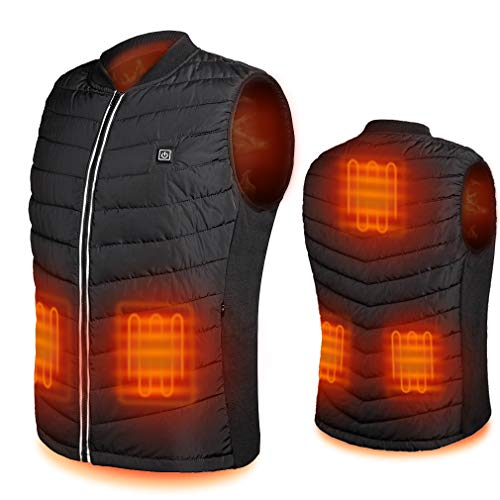 Srivb Heated Vest, USB Charging Lightweight Heating Vest for Men Women Washable Body Warmer with Battery Pack Included for Outdoor Hunting Hiking Camping Motorcycle Skiing (XS)