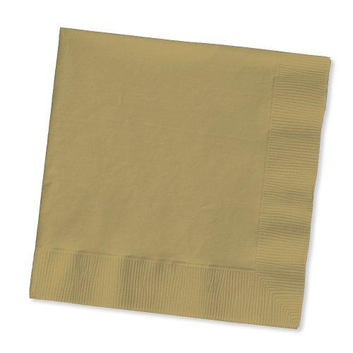 Creative Converting Paper Beverage Napkins, 5 x 5, Glittering Gold