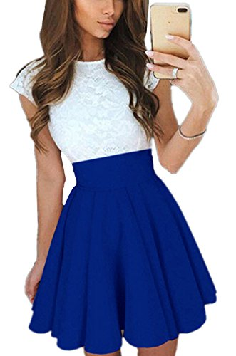Minetom Mujeres Verano Mini Vestido Dress Moda Mangas Corta Blanco Tops De Encaje De Empalme Falda Plisada Elegante Cuello Redondo Cóctel Azul Oscuro ES 38
