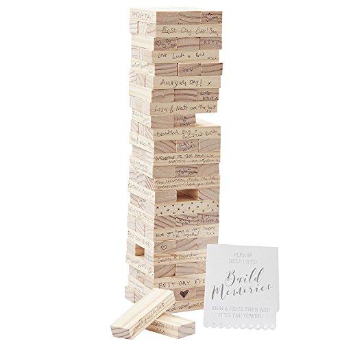 Gästebuch Holzturm - Stapelspiel aus Holz - das etwas andere Gästebuch zur Hochzeit, Taufe,...
